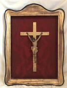 Antique 1800s Italian Shadowbox Picture Gold Gilding Wood Jesus Cross Red 34andrdquot