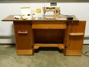 Singer Vintage 401a Slant-o-matic Sewing Machine In Hardwood Table W/foot Pedal