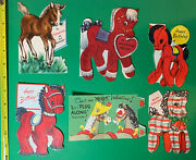 6 Vintage 1950s Cute Child's Greeting Card Pony Horse Lot Flocked Scrapbook 50s