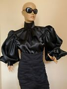 Black Formal Satin Blouse With High Neck And Puffy Balloon Sleeve Plus Size