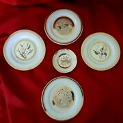 Art Of Chokin 24k Gold 4 6 And 1 4 Collector Plates Gold Rim Etched Deco