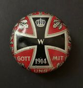 Ww1 German Chocolate/candy 2-piece Tin Container Painted Reds-grey-black Rare