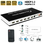 4x2 Hdmi 2.0 Matrix Toslink Audio 4 In 2 Out 4k 60hz Hdr Hdcp2.2 Switch Splitter