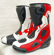 Mens Motorbike Leather Shoes Riding Motorcycle Leather Boots