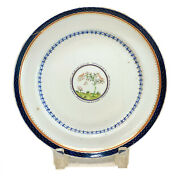 Chinese Export Porcelain Cobalt Blue And Gilt Plate, Circa 1800. Trees Motif