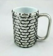 One Hundred 80 Degrees Coffee Mug Silver Chain Link Biker Motorcycle Cup Euc