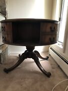 Antique Mahogany Round Rotating Pedestal Table With Shelves