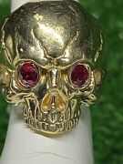 14k Yellow Gold Custom Skull With Red Rubies