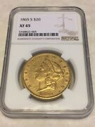 1865-s Xf45 Ngc Liberty Double Eagle 20 Gold Coin Pq Very Nice Coin No Pcgs