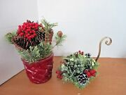 Lot Of 2 Table Top Christmas Decorationstaper Candle Holderfloral Arrangement