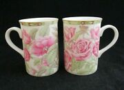 Pair Of Pink Roses Fine Porcelain Mugs By Royal Canterbury Designed In England