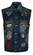 Affliction Premium Just Right Menand039s Denim Biker Vest Blue