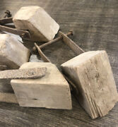 Antique Primitive Wood Chock For Wooden Wheel Horse Drawn Wagons Carts Vintage