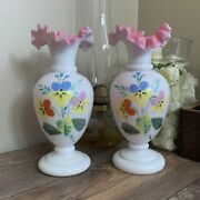 Antique Blown Glass Mantle Vases White And Pink Hand Painted Vase Pair