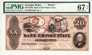 20 18__ Proof Rome, Ga- Bank Of The Empire State Pmg Superb Gem 67- Stunning