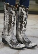L 105-79 Old Gringo Eagle Grey Leopardito Distressed Black Cowgirl Leather Boots