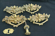 4 Fab Antique Stamped Brass Drawer Pulls Back Plates Bails Oak And Branch C 1900