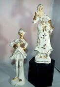 Vintage Pair Of Victorian Figurines, Ivory And Gold, Lady And Gentleman Japan