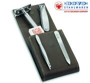 Dovo Safety Razor And Manicure Set With Merkur 23c Razor And Cowhide Case 574056
