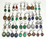 Wholesale Lot 200 Pairs Natural Mixture Gemstone Silver Plated Earrings