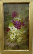 Painting Flowers Guibault Purple White 19th Painting French Petit Panel