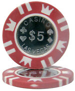 25 Red 5 Coin Inlay 15g Clay Poker Chips - Buy 3, Get 2 Free