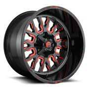 Set Of Four Fuel Wheels D612 Stroke 20x12 8x165.1 -43 Gloss Milled Red