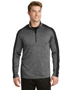 Sport-tek Menand039s Posicharge Electric Heather Colorblock 1/4-zip Pullover. St397