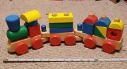 Melissa And Doug Stacking Train Classic Toddler Wooden Blocks Toy Set New