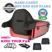 Hard Candy Hot Rod Red Flake King Tour Pack Black Hinge Latch For 97-20 Harley