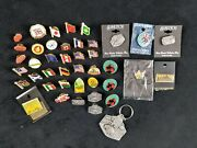 Lot Of 42 State And Country Flag Pins And Keychain