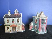 Lot Of 2 Christmas Village Tealight Housescity Hall And Post Office