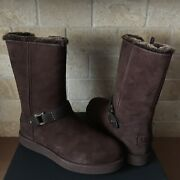 Ugg Classic Berge Short Water-resistant Dark Roast Suede Boots Size 8 Womens