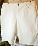 Coldwater Creek Natural Fit Size 10 White Bermuda Cotton Shorts
