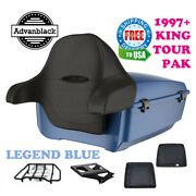 Legend Blue King Tour Pack Trunk Black Hinges And Latch For 97-20 Harley Touring
