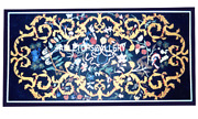 4and039x3and039 Black Marble Dining Table Top Pietra Dura Marquetry Inlay Home Decor H3145