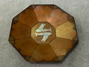 Antique Japanese Signed Mixed Metal Hammered Copper Plate W/ Silver Inlaid Fish