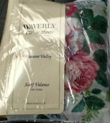 ❤️waverly Pleasant Valley Sheer Scarf Valance Roses 216x60andrdquo Nwt 95.00 Usa