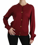 Dolce And Gabbana Sweater Red Silk Long Sleeve Cardigan It50/ Us16 / Xxl Rrp 1400