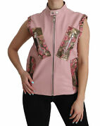 Dolce And Gabbana Blouse Pink Leather Sleeveless Vest Jacket It38/us4/ S Rrp 4600