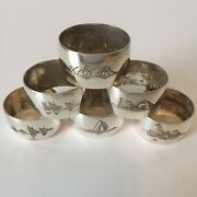 Lot Of 6 Antique Silver Persian Iraqi Engraved Niello Napkin Rings Numbered 1-6