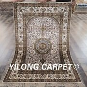 Yilong 4and039x6and039 Medallion Silk Hand Knotted Carpet Home Decor Indoor Area Rug Y87b