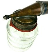 Old Vtg Acme Bug Fly Sprayer Metal Wood Handle Glass Jar