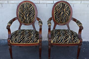Elegant Pair Of French Bergere Mahogany Spring Arm Chairs New Upholstery
