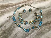 Sorrelli Mint Julip Blues And Green Necklace, Bracelet And Earring Set. Retired