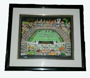 Charles Fazzino New York Jets Framed Signed And Pop Art Football Nfl Stadium