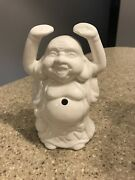 Vintage Buddha White Ceramic Blue Belly Button Figurine Orchids Of Hawaii R 95