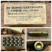 Box Of 50 M1 Carbine 30 Cal Winchester Wra Dummy Training Round Dated 1944
