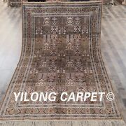 Yilong 5and039x8and039 Handmade Silk Garden Scene Carpets Hand-knotted Vintage Rugs 047m