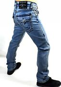 True Religion Men's Ricky Trophy Blue Relaxed Straight Super T Jeans - 103740
